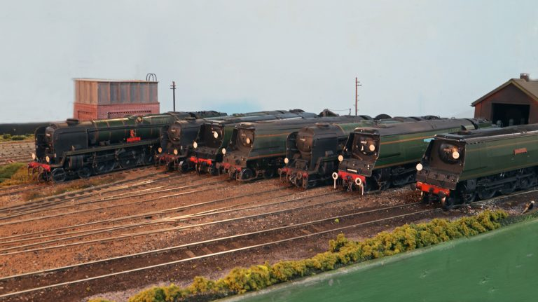 Bulleid Pacifics at the Steam Depot. Left to right 34001, 35023, 34102, 34105, 34087, 34057,and 34103. (2)
