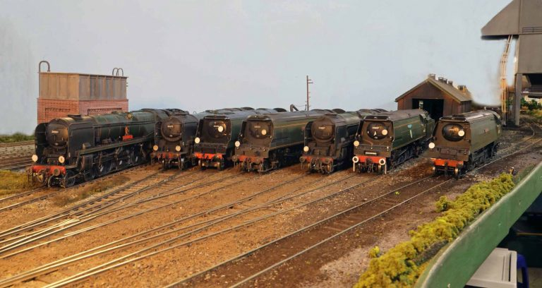 Bulleid Pacifics at the Steam Depot. Left to right 34001, 35023, 34102, 34105, 34087, 34057,and 34103.
